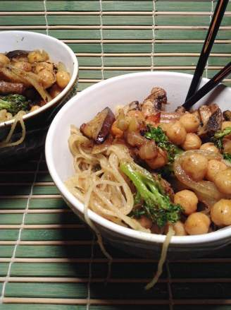 Curried chickpea and grilled veggie vermicelli