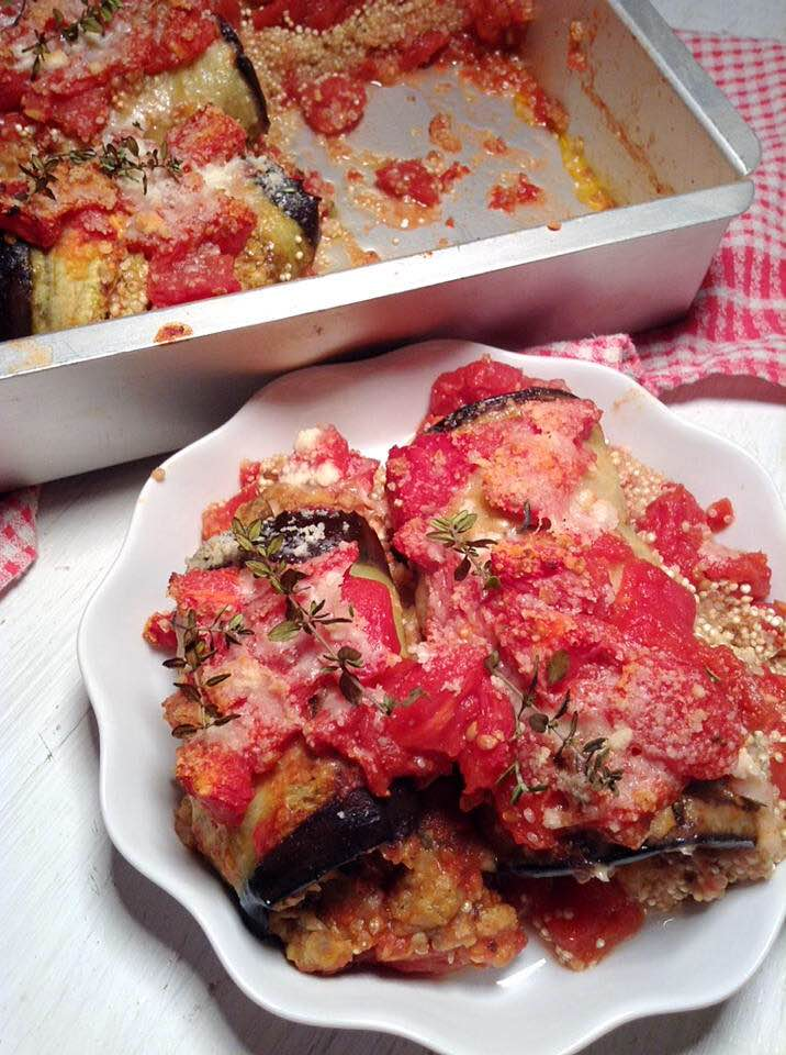 Stuffed eggplant and quinoa bake