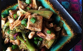 Cambodian Vegetable Stir Fry with Peanut Sauce - A Budddha Curry