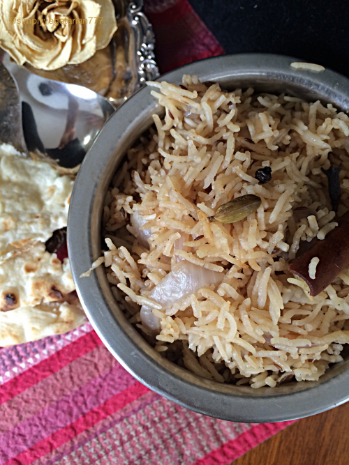 Vegetable Korma and Onion Pulav is a delicious and delicate combination of Ingredients, Spices and Textures. Korma is a flavorful curry base with addition of vegetables or protein of choice. Onion Pulav is a delicate rice preparation made with ghee, onions and basmati rice. #vegetablemeals #indiancuisine #indianrecipes #vegetarian #korma #kurma #onion #pulav #pilaf #pulao
