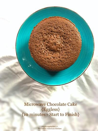 Microwave Chocolate Cake {Eggless}