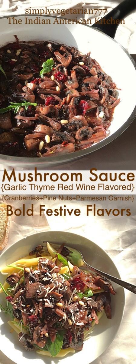 Penne in Red Wine Garlic Thyme Mushroom Sauce