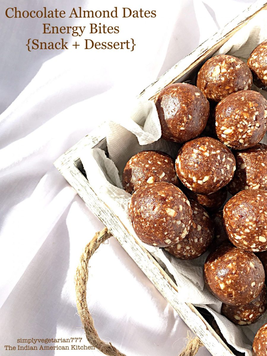 Easy Quick Chocolate Almond Dates Energy Bites - 4 Ingredients Recipe