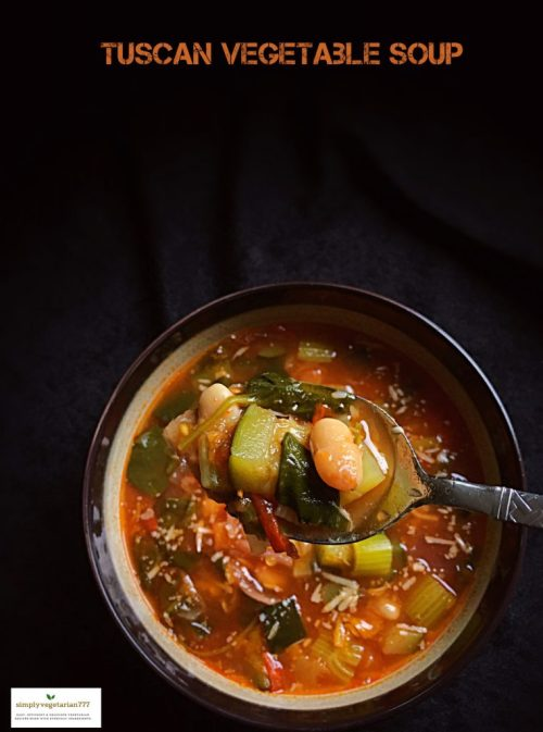 Tuscan Vegetable Soup Instant Pot Recipe is an easy + delicious + nutritious recipe. It is loaded with seasonal vegetables and cannellini beans and mildly flavored with seasonings. The soup is light in calories but very filling. Add some shell pasta in it or put some bread on the side and make it a complete meal. #italiansoup #tuscansoup #souptoscana #vegetariansoup #vegansoup #glutenfreesoup #wintersoup #soup