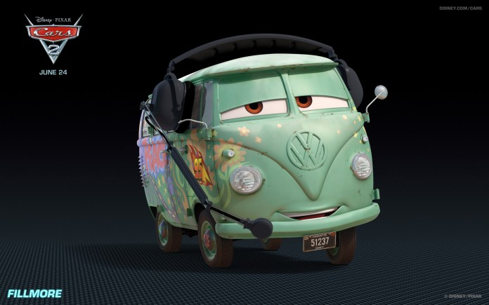 fillmore the hippy car from disney's cars 2 hd desktop wallpaper