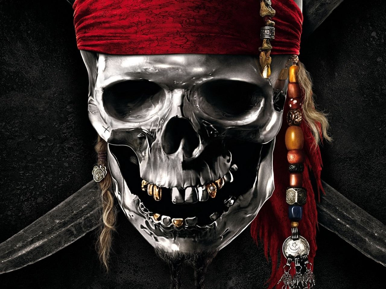 pirates of the caribbean silver skull desktop wallpaper