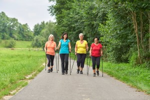 walking women down bike trail