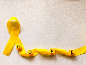 pedi cancer yellow ribbon Hope