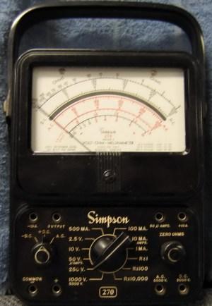 Simpson 270 Series 2  Volt  Ohm  Milliammeter