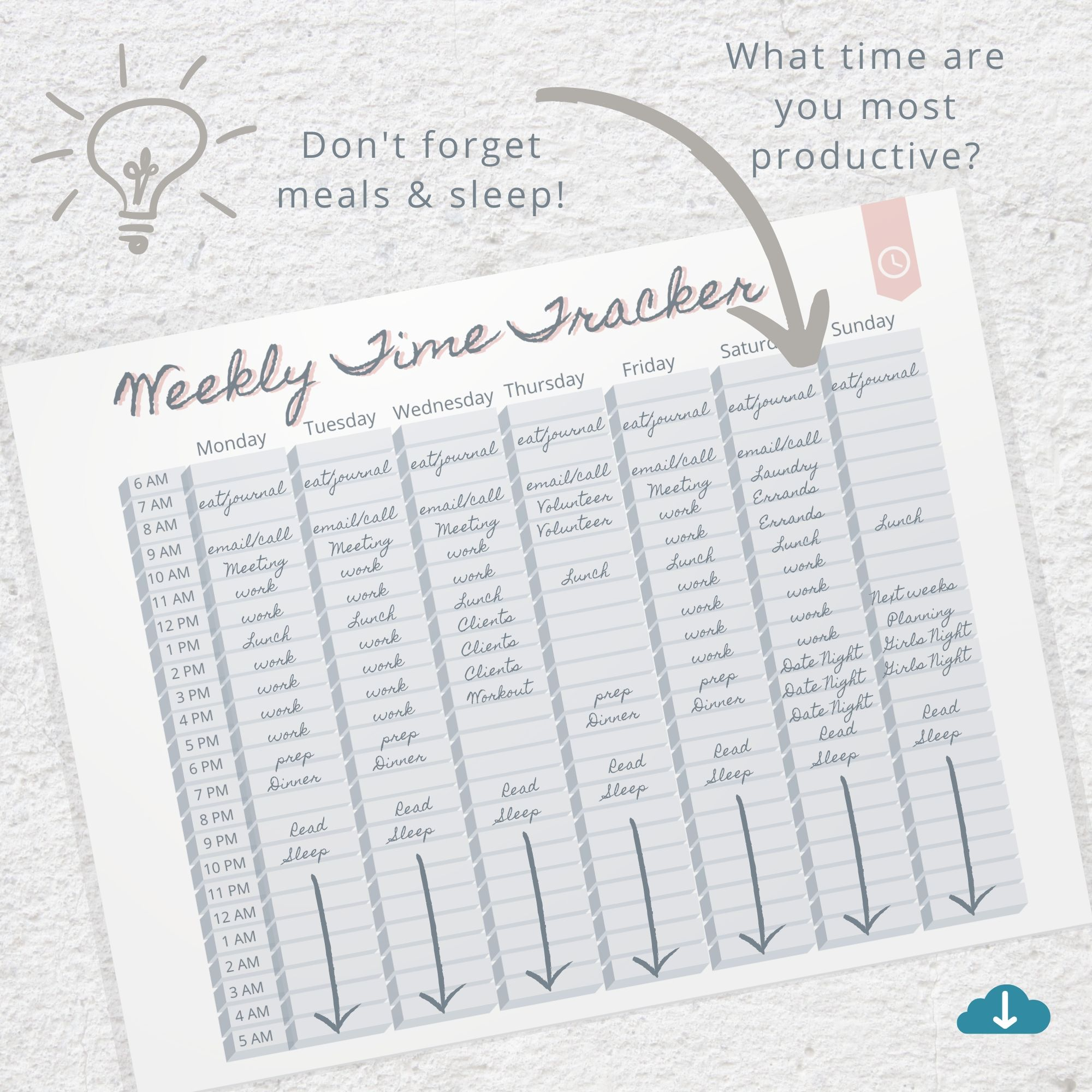 Weekly Time Tracker Printable