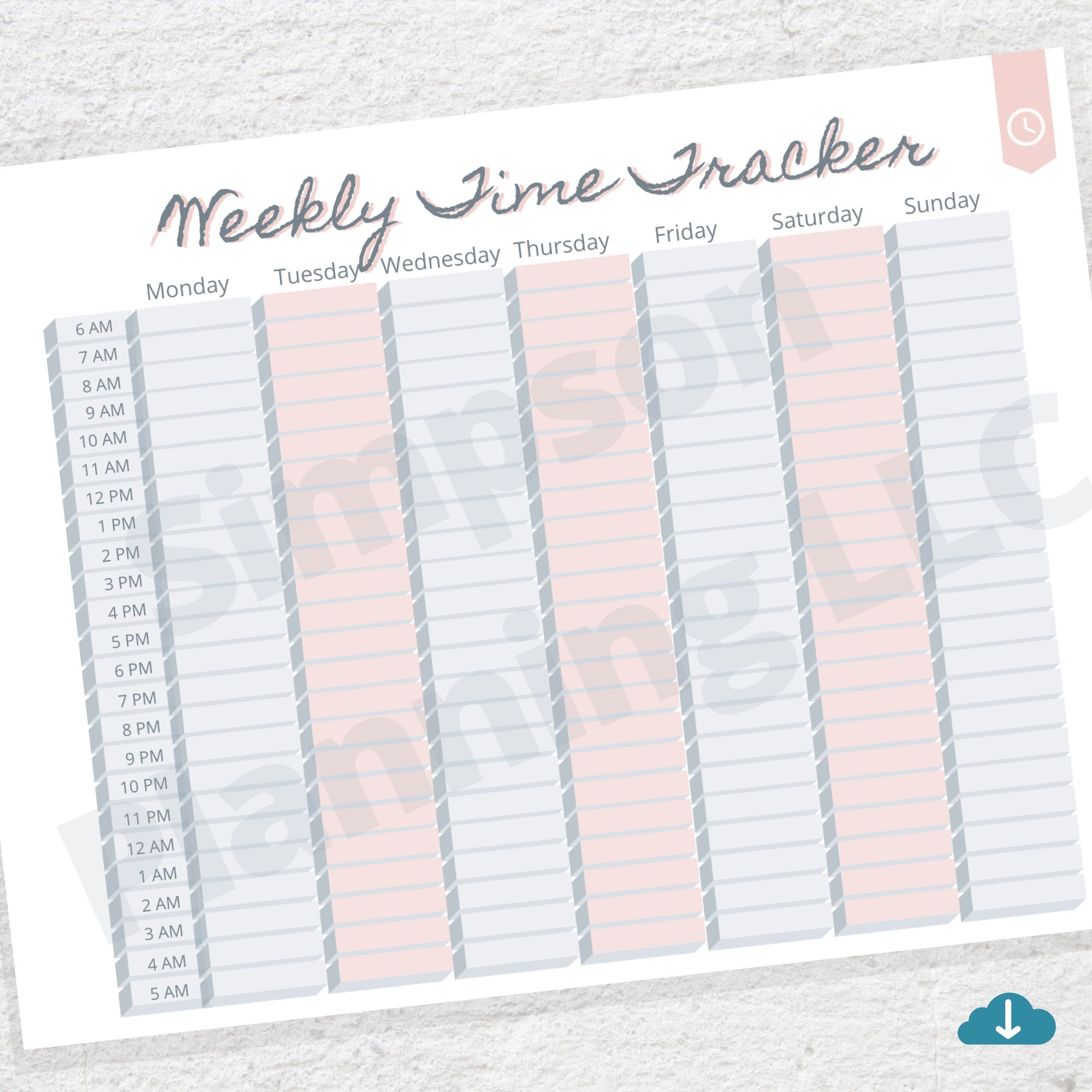 Weekly Time Tracker Printable Colored