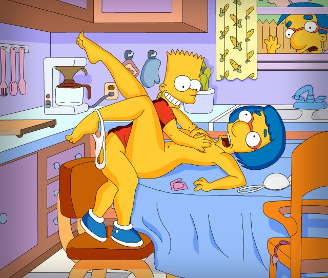 Bart Is Doing It Right On The Kitchen Table With Luanne And Guess What Milhouse Is Watching Shocked