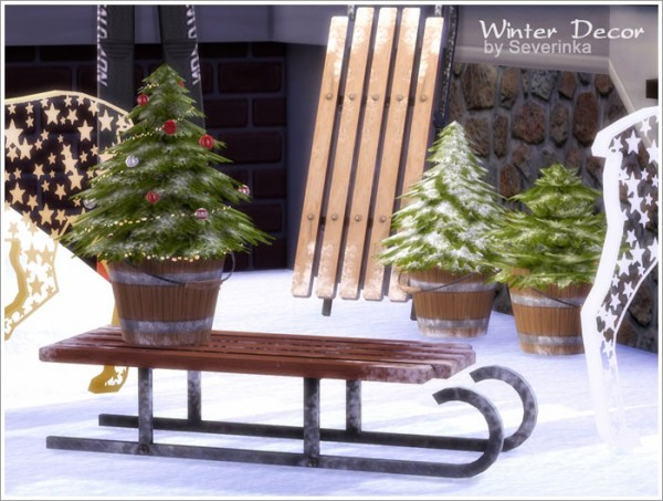 Sims By Severinka Winter Outdoor Decor Set Sims 4 Downloads