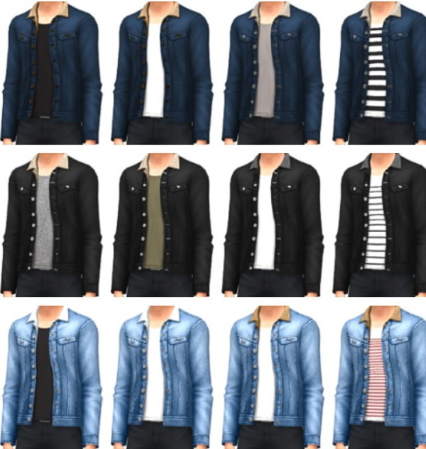 Marvin Sims Denim Jackets With Fur Collar Sims 4 Downloads