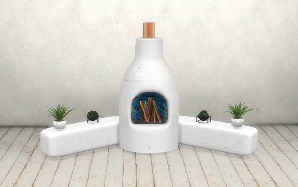 Sims 4 Designs Stucco Fireplace Bucket Planters And