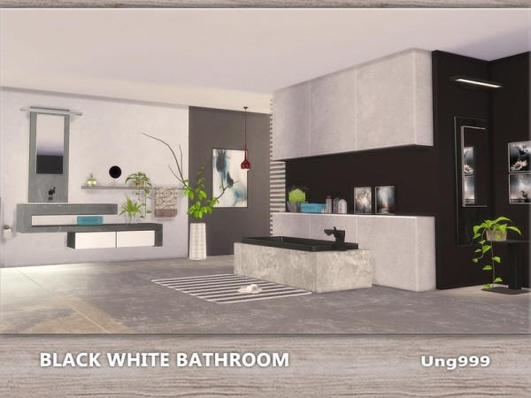 The Sims Resource Black White Bathroom By Ung999 Sims 4