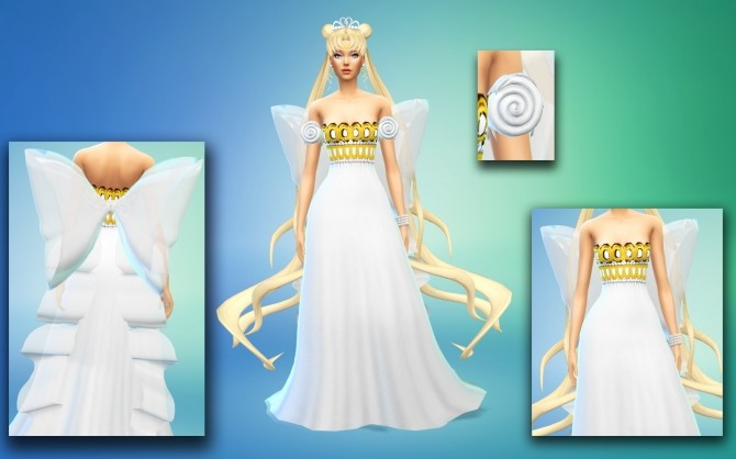 Princess Serenity And Neo Queen Dress Crowns Wand At