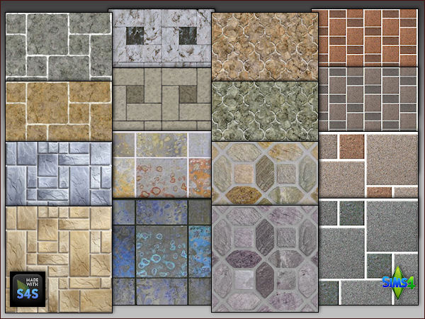 4 Stone Flooring Sets By Mabra At Arte Della Vita Sims 4 Updates