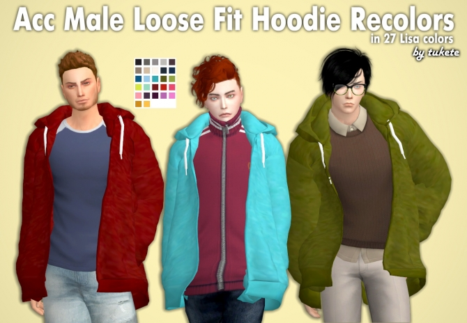 Acc Male Loose Fit Hoodie Recolors At Tukete Sims 4 Updates