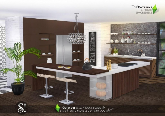 Cayenne Kitchen At Simcredible Designs 4 187 Sims 4 Updates
