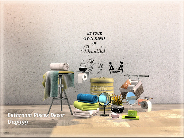 Free up some space and elevate your decor. Bathroom Pisces Decor by ung999 at TSR » Sims 4 Updates