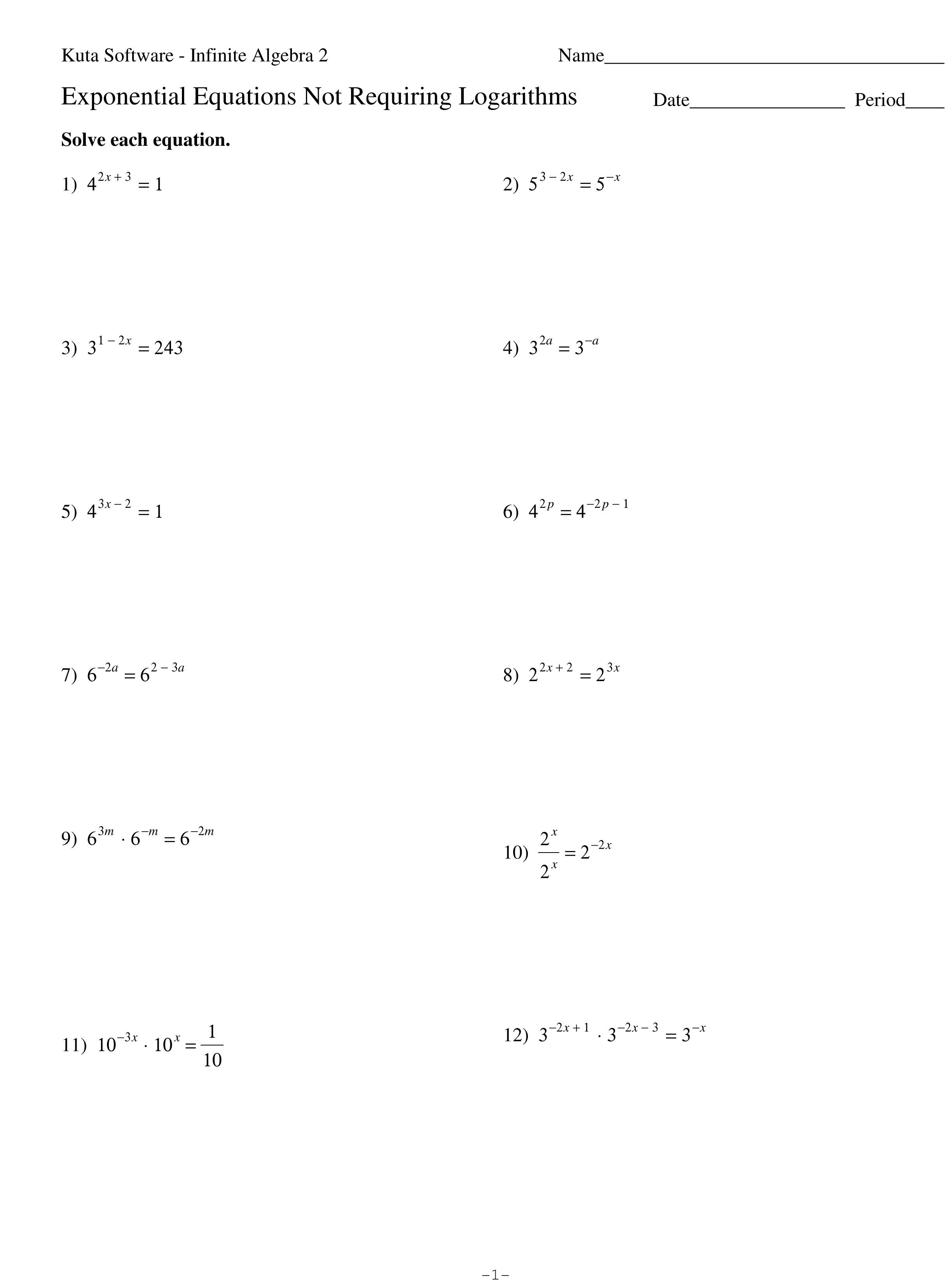 Solving Exponential Equations Without Logarithms Worksheet