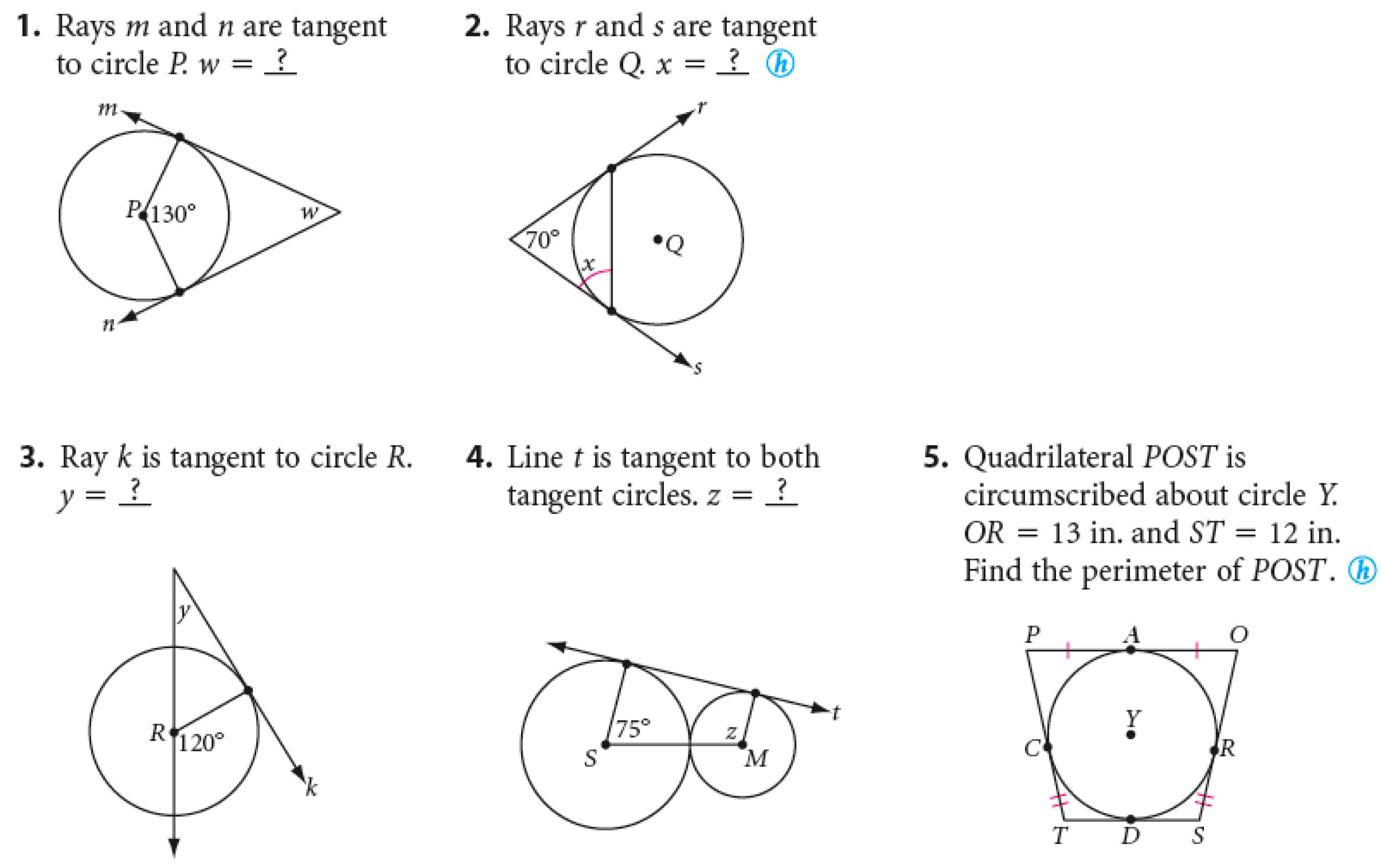 Hw Properties Of Tangents