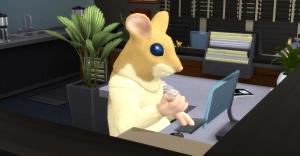 Sims 4 hamster man at computer