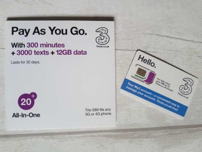 Three PAYG SIM Cards