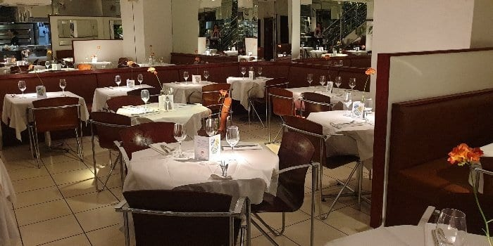 Croma restaurant seating area downstairs