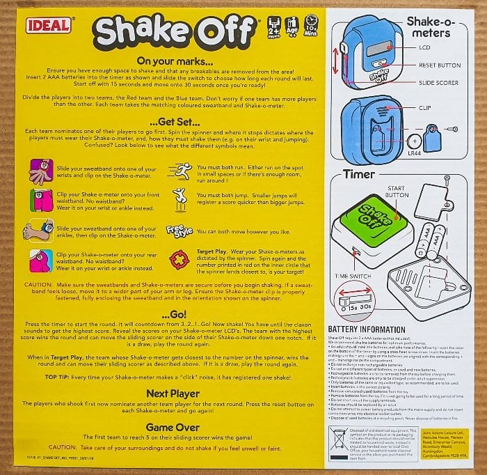 Shake Off Game instructions