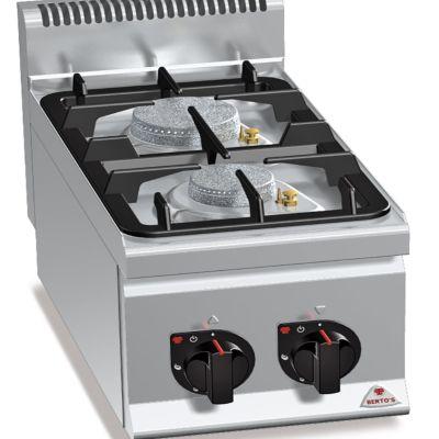Cocina industrial 2 fuegos a gas sobremesa Berto's G6F2BPW