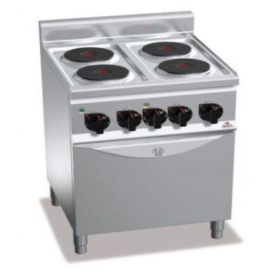 Cocina industrial 4 fuegos eléctrica y horno Berto's E6P4+FE1