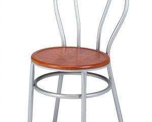 silla de tubo asiento de madera