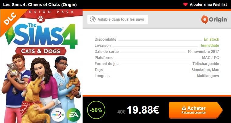 Promo -50% sur l'extension Chiens & Chats – Sims 4