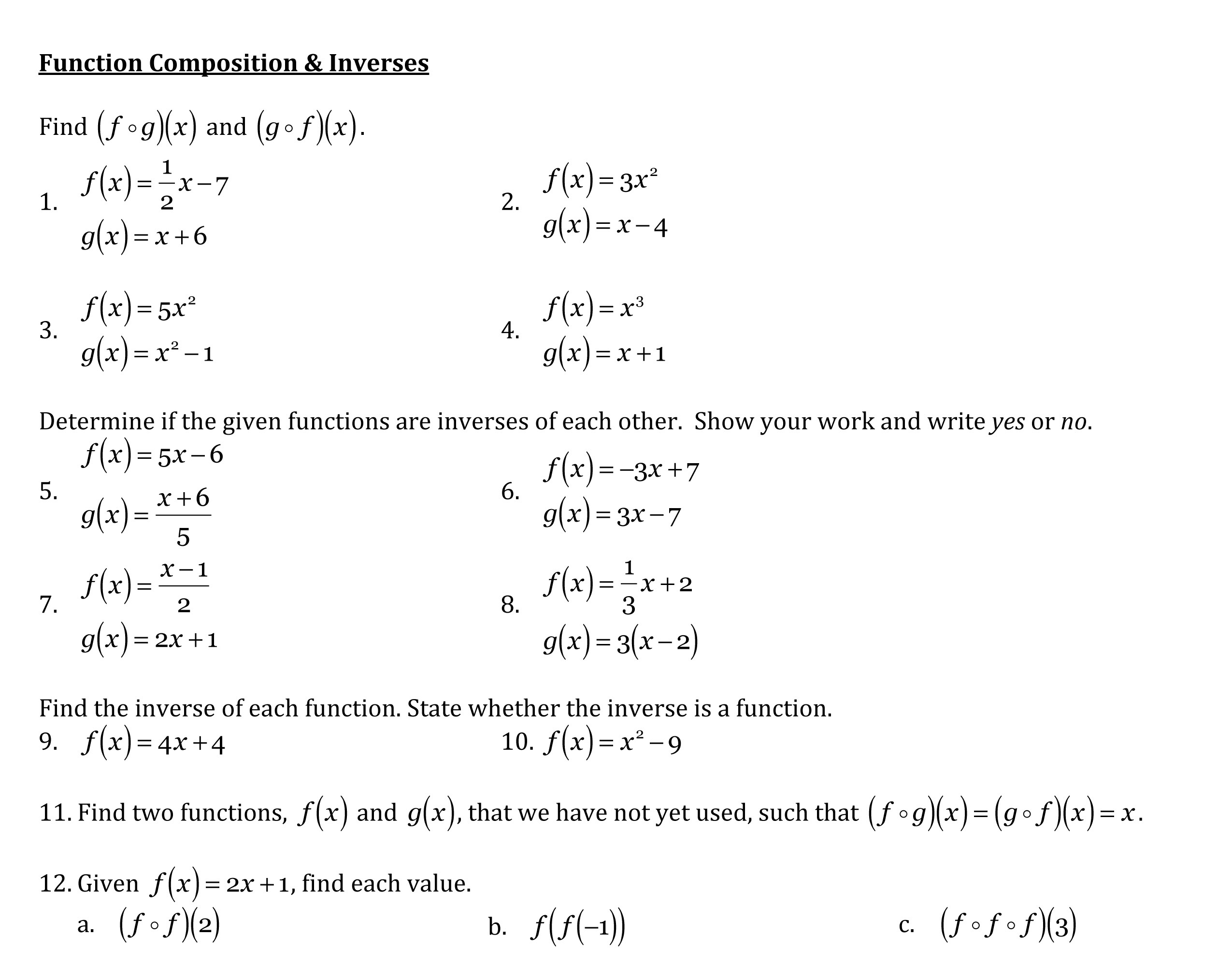 Hw 1 2 Function Composition Amp Inverses Due 19 September