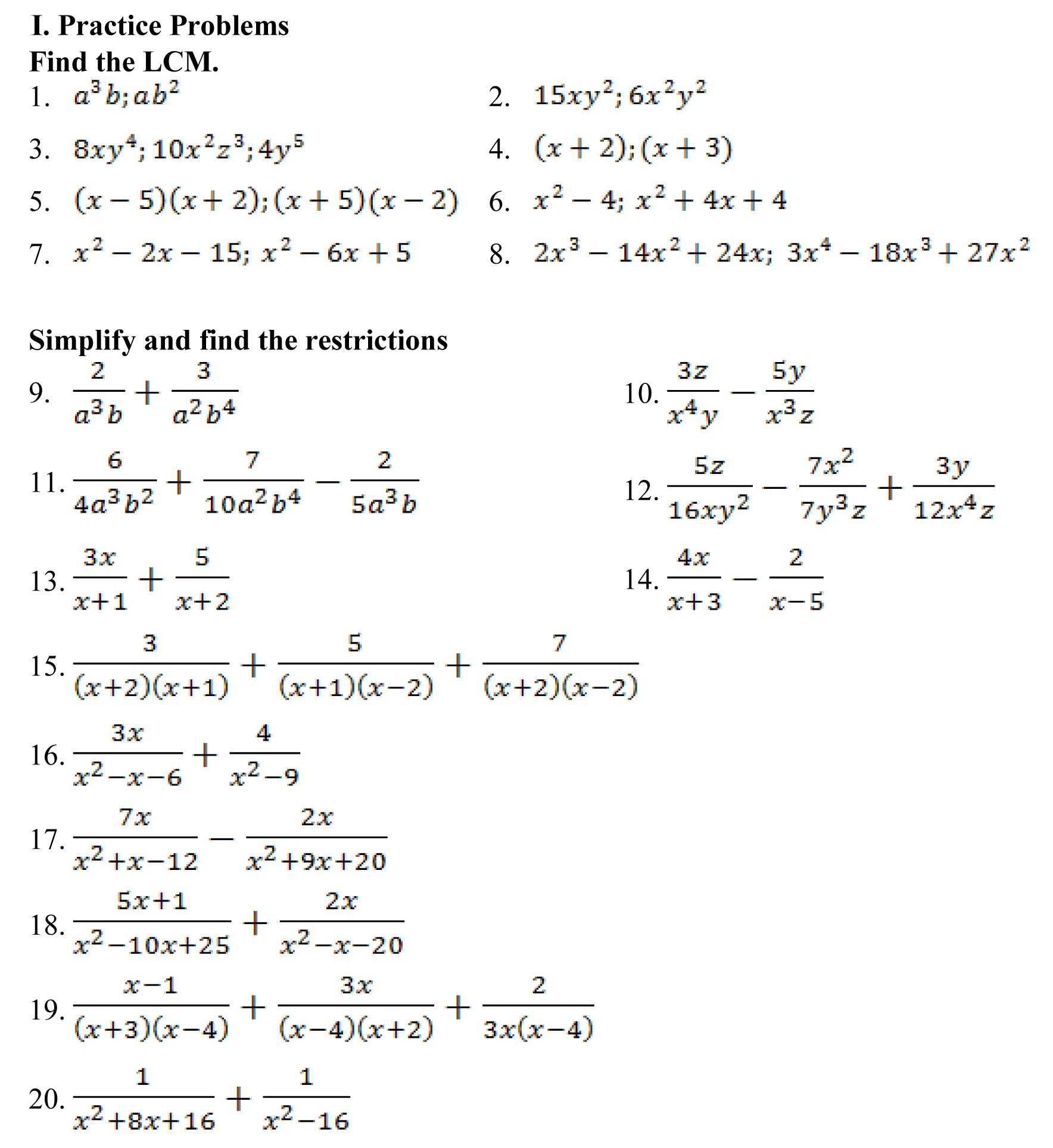 Hw Lcm Amp Combining Rational Expressions Again