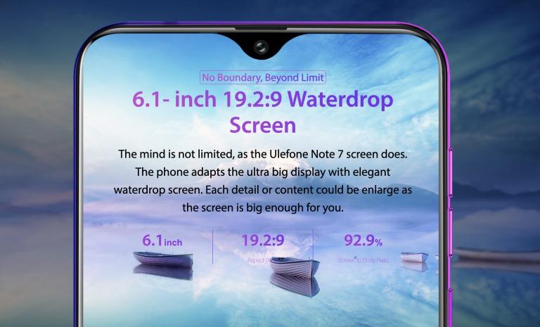 Ulefone Note 7のディスプレイ