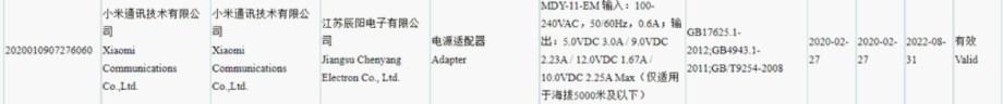 Redmi Note 9 Proの予想充電器スペック