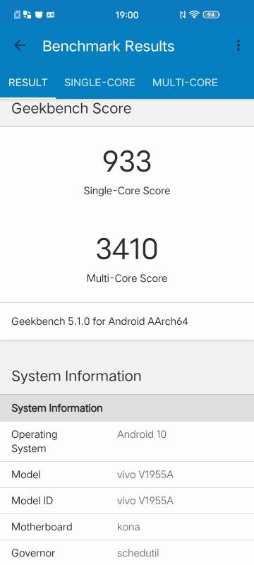 iQOO 3 5GのGeekbench結果の画像