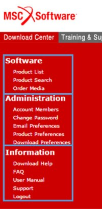Figure 2: Sections of the Download center