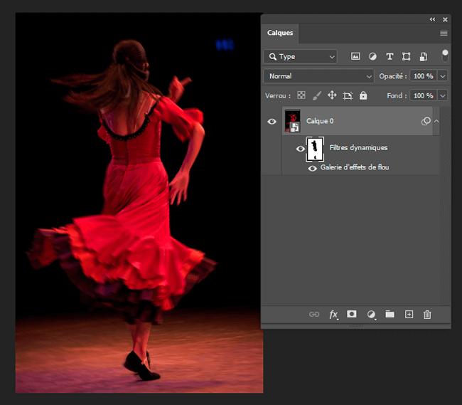 flou de tracé danseuse flamenco
