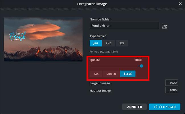 pixlr fond d'écran gratuit export