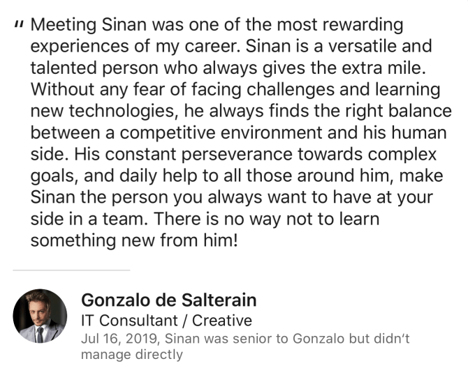 Gonzalo de Salterain Review for Sinan Ata