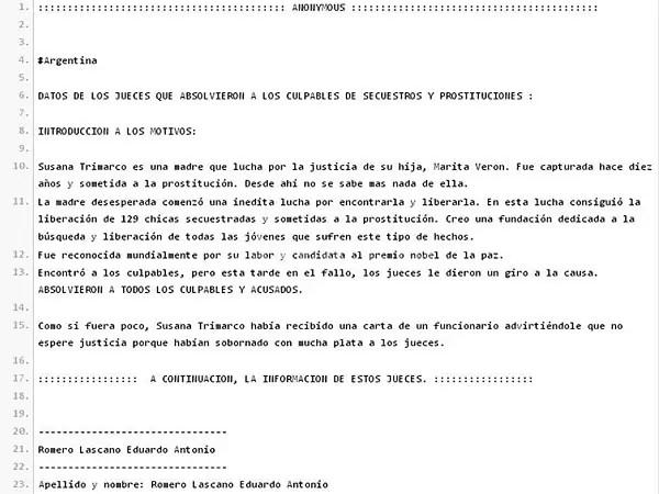Anonymous difunde datos de los jueces del caso Marita Verón