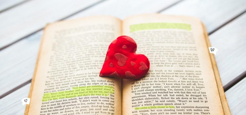 Markierungen in einem Buch für eine Rezension