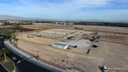 SUMMERLIN, NV - NOVEMBER 15: An aerial view of the construction progress of the NHL practice facility on November 15, 2016 near downtown Summerlin, Nevada.