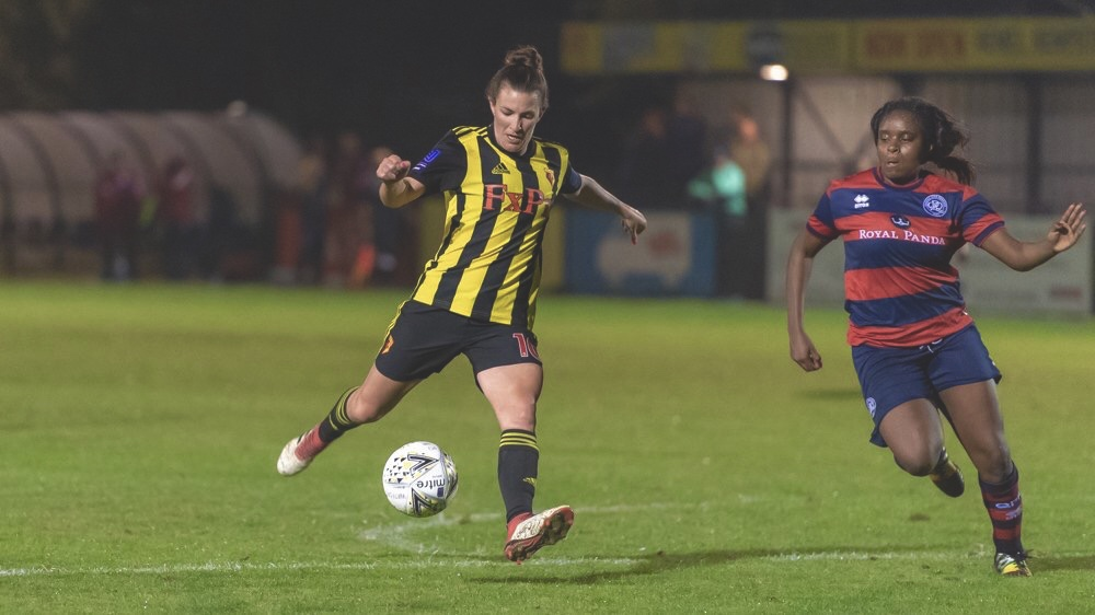 Helen Ward takes a shot against QPR. Taken by Andrew Waller