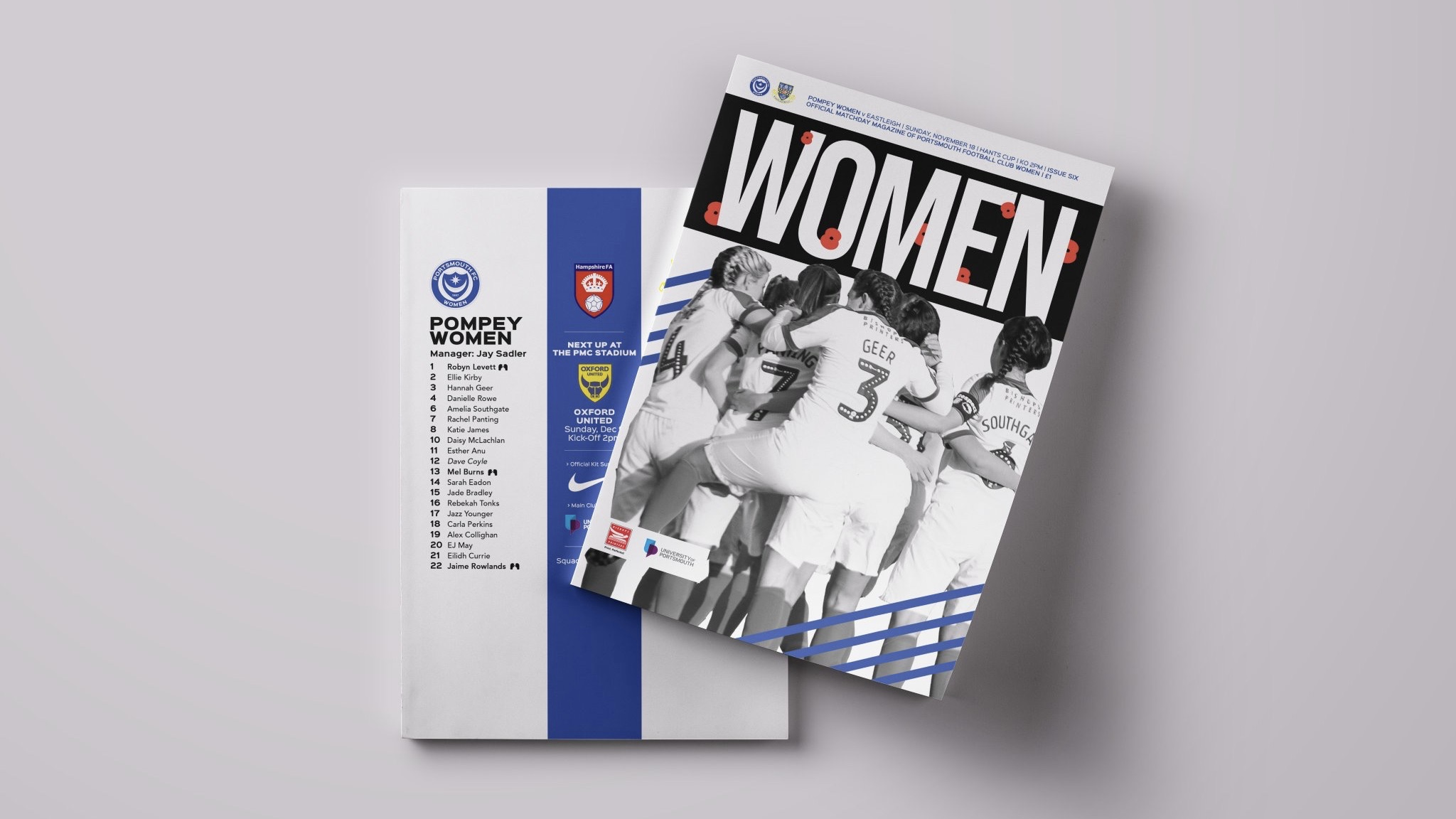 Portsmouth FC Women's programme cover.