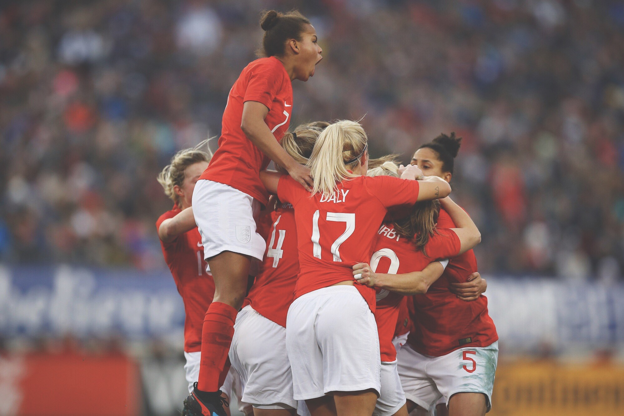 England Lionesses celebrate in the She Believes Cup